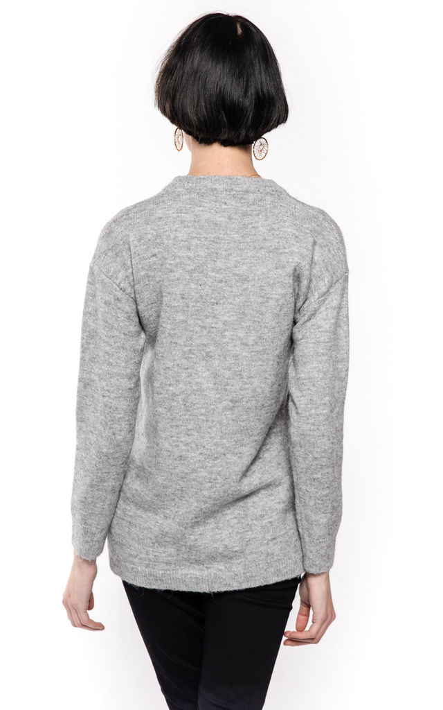 Long Sleeve High Neck Jumper with Face Design Patch in Grey by CY Boutique
