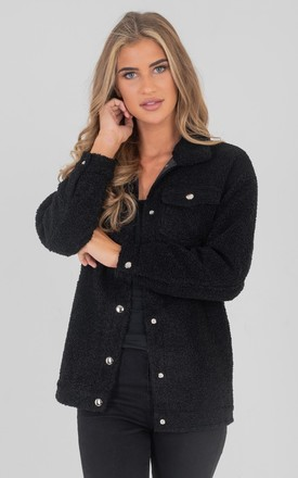 Black Faux Shearling Trucker Jacket by Saint Genies