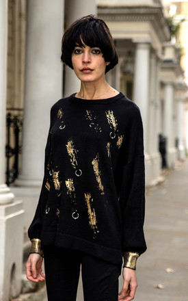 Balloon Sleeve Jumper with Gold Metallic Print and Ring Embellishments in Black by CY Boutique