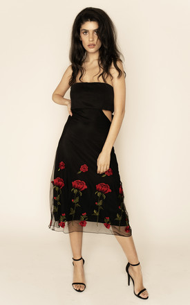 Gwyneth Strapless Embroidered Skater Dress Black by Sarvin Product photo