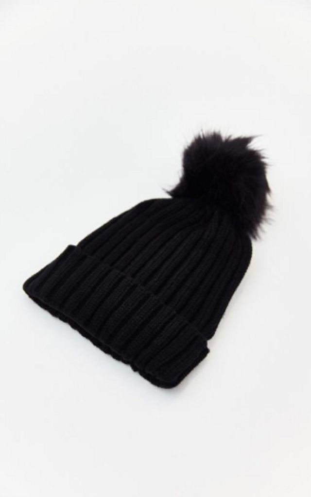 Black Ribbed Pom Pom Hat by HAUS OF DECK