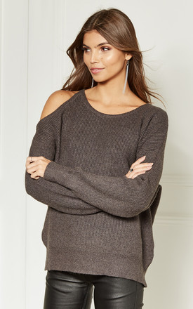 Grey Cold Shoulder Knitted Jumper by Bella and Blue Product photo