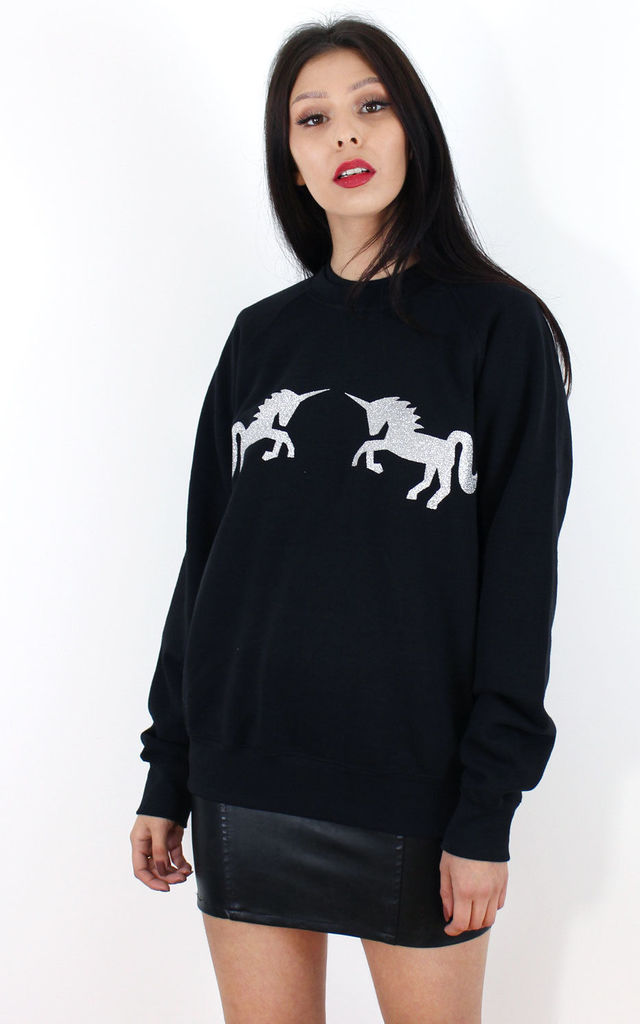 Oversized Silver Glitter Unicorn Jumper by Tallulah's Threads