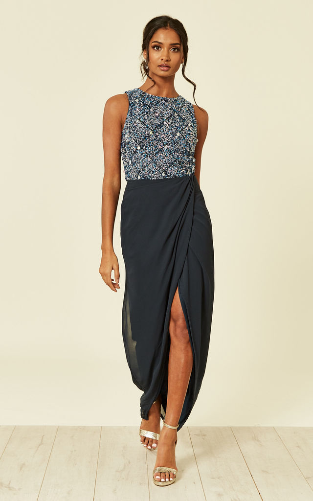 KEISHA SEQUIN EMBELLISHED MAXI NAVY by Lace & Beads