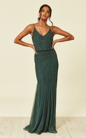 Keeva Maxi Dress In Emerald Green by Lace & Beads Product photo