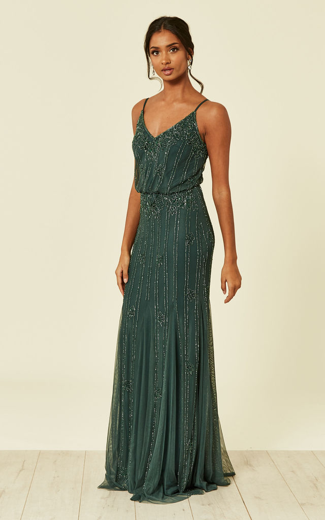 Keeva Maxi Dress in Emerald Green by Lace & Beads