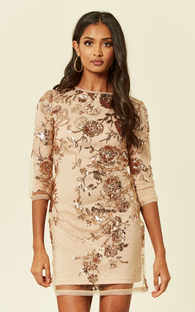 79c791fb Paris Floral Sequin Mini Bodycon Dress In Rose Gold | TFNC | SilkFred
