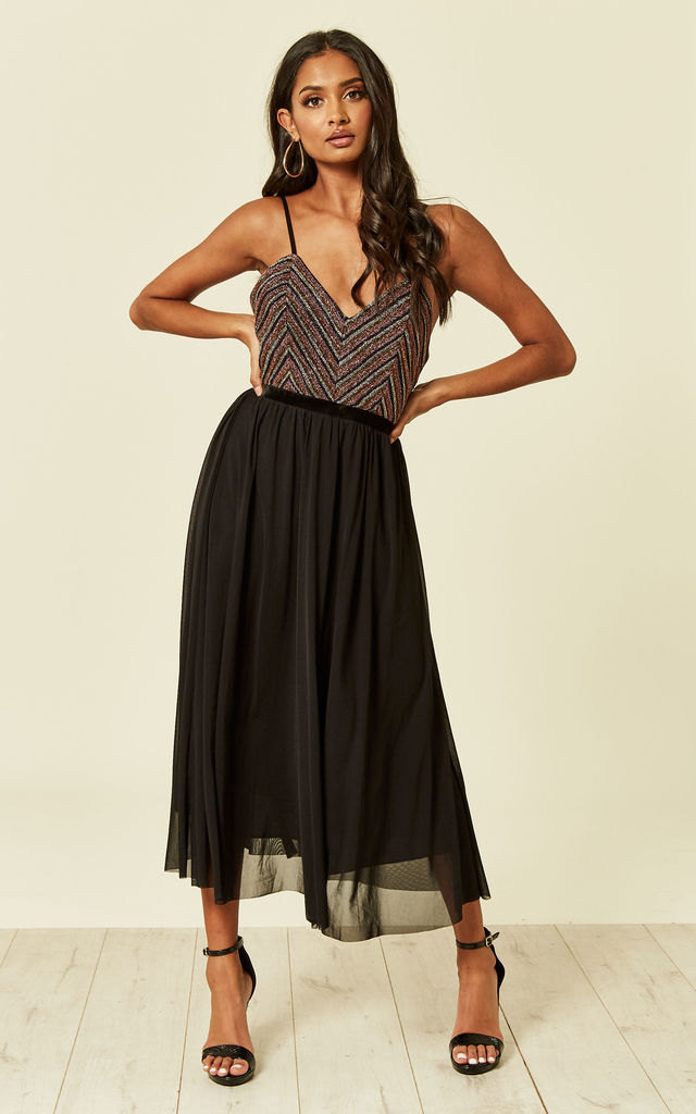 Popy Metallic Pleated Skater Dress in Black by TFNC