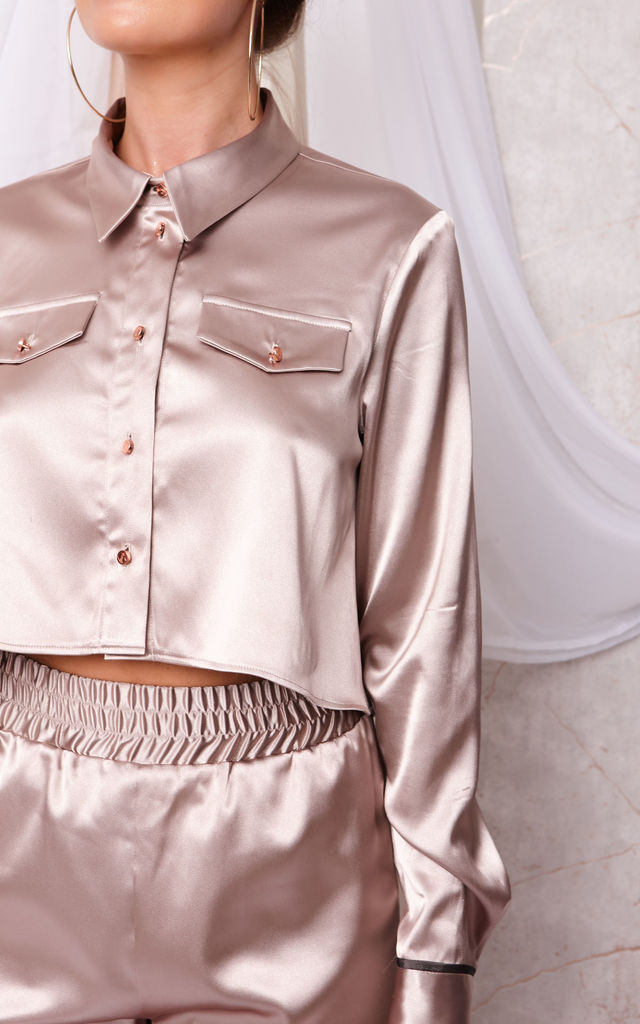 REIGN SILK CROP SHIRT AND TROUSERS SET GOLD by Cheeky's