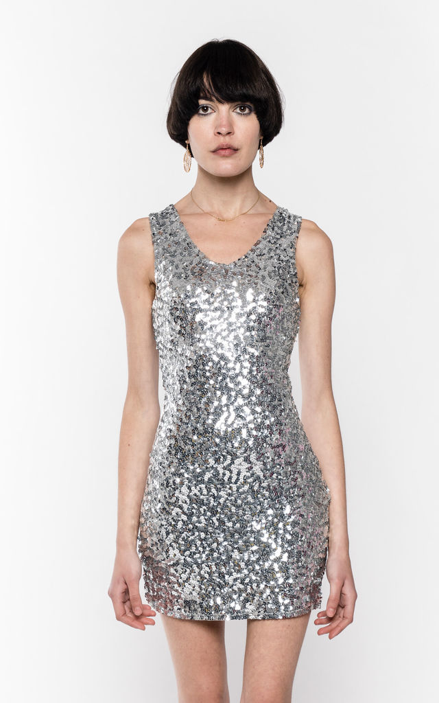 V Neck Sequin Party Dress in Silver by CY Boutique