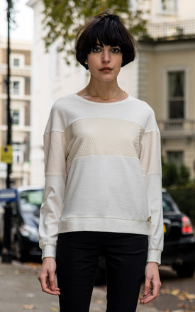 Gold print design white color sweatshirt by CY Boutique
