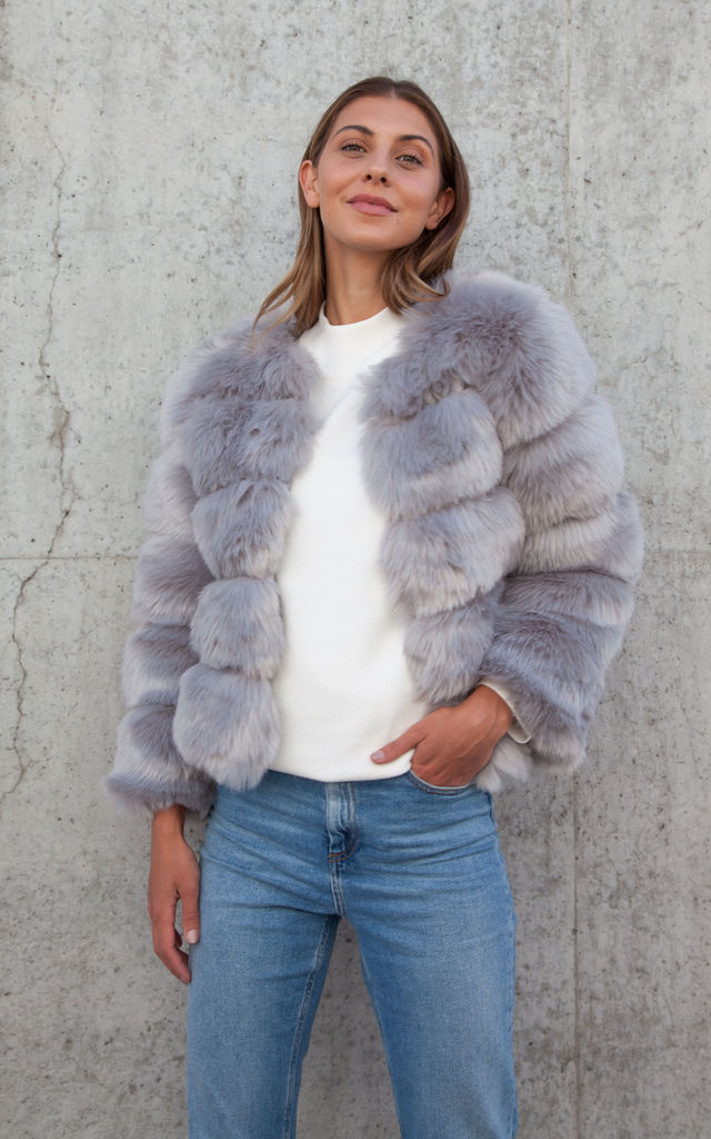 Grey Soho Faux Fur Short Panelled Jacket by Styled In London