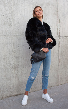 Black Soho Faux Fur Short Panelled Jacket by Styled In London Product photo