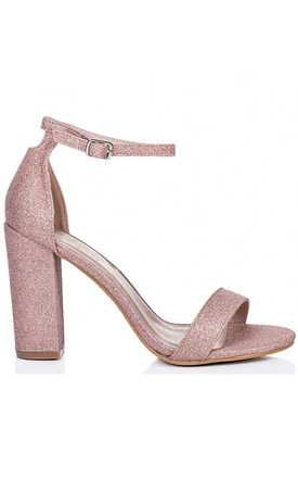 Barely There High Heel Sandals in Blush Pink Glitter by Shoe Closet