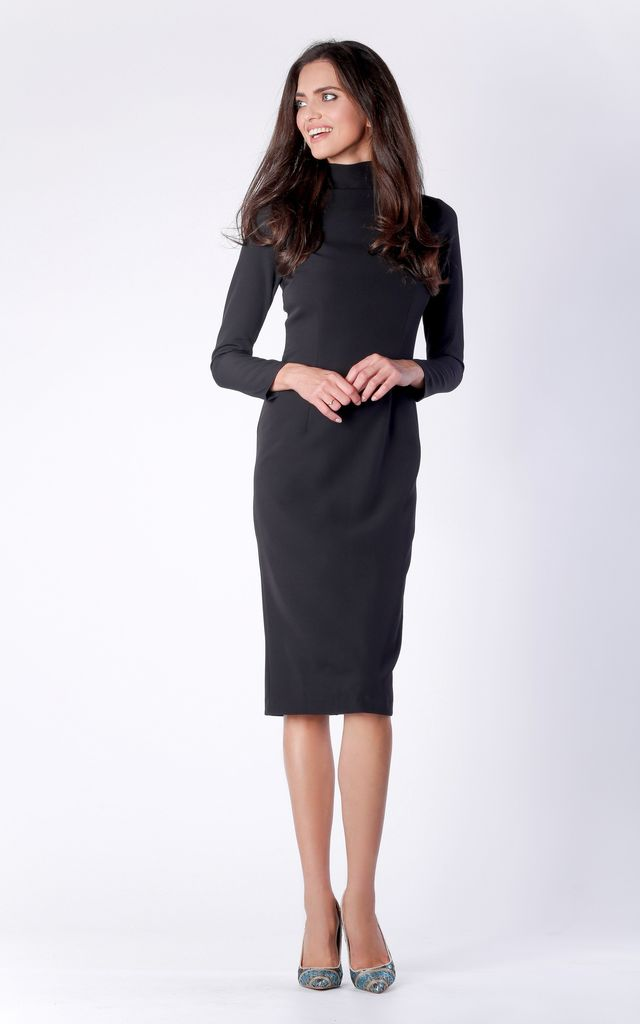 Black Midi Long Sleeve High Neck Dress by Bergamo
