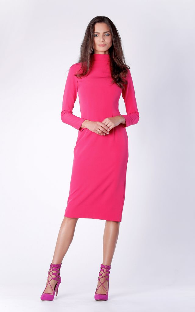 Pink Midi Long Sleeve High Neck Dress by Bergamo