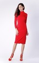 Red Midi Long Sleeve High Neck Dress by Bergamo