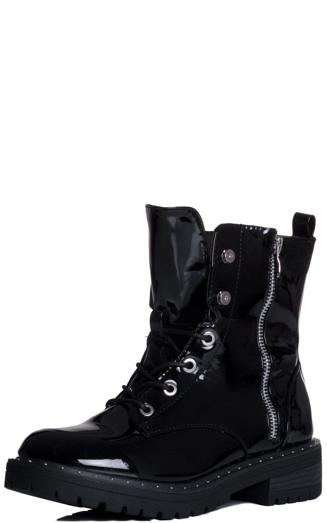 597589ad9 DILLIE Military Lace Up Flat Ankle Boots Shoes - Black Patent by SpyLoveBuy
