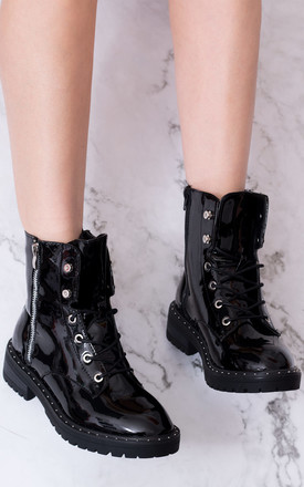 Dillie Military Lace Up Flat Ankle Boots Shoes   Black Patent by SpyLoveBuy Product photo
