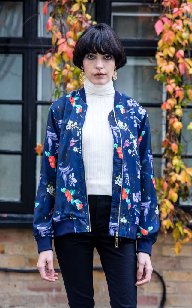 Navy blue Floral print bomber jacket by CY Boutique