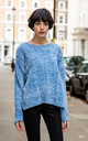 Velvety Jumper with Cable Knit in Blue by CY Boutique