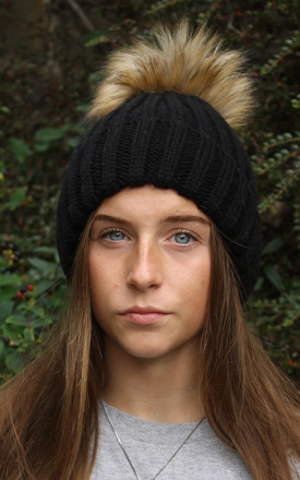 Black Faux Fur Pompom Hat by White Leaf Product photo