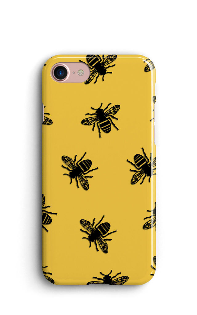 Black Bees Print Phone Case - Yellow by Harper & Blake