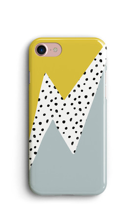 Thunderbolt Geometric Phone Case   Yellow And Blue by Harper & Blake Product photo