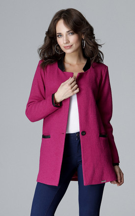 Fuchsia Simple Long Jacket With Stand Up Eco - Leather Collar by LENITIF