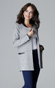 Grey Simple Long Jacket With Stand Up Eco - Leather Collar by LENITIF