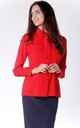 Red Belt on Neck Classic Collar Long Sleeve Shirt by Bergamo