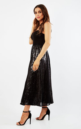 Black Full Sequin Maxi Skirt by CLOVES AND LACE