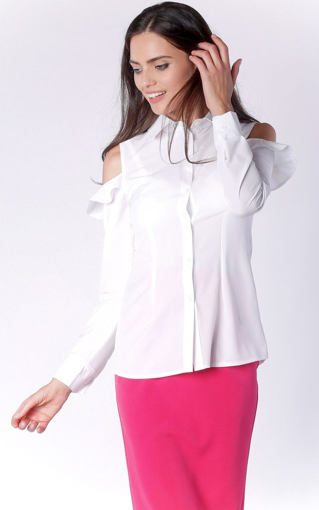 Ecru Long Sleeve Open Shoulder Shirt With Collar by Bergamo