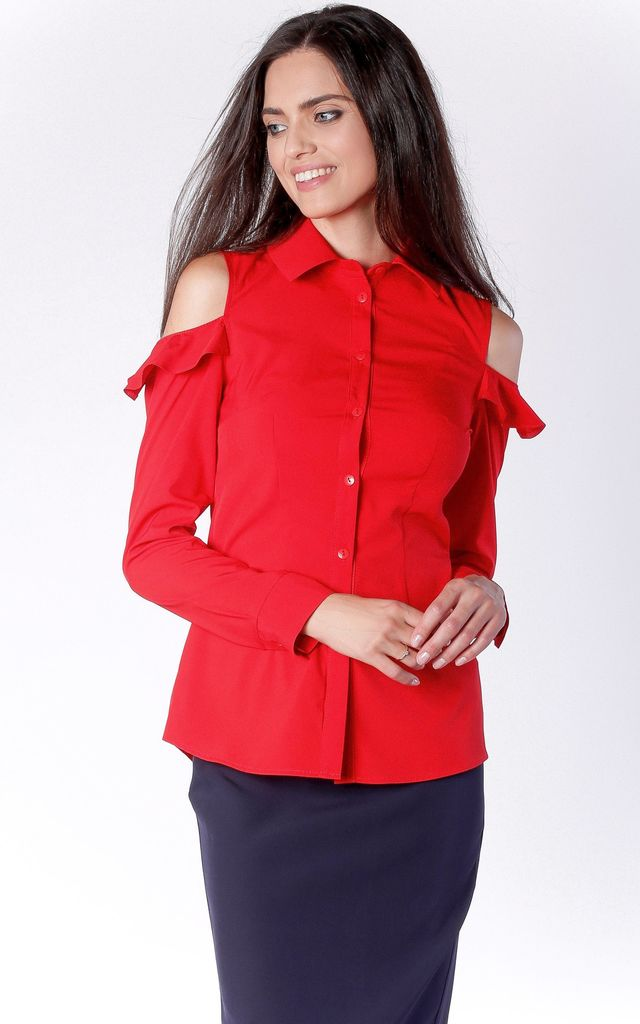 Red Long Sleeve Open Shoulder Shirt With Collar by Bergamo