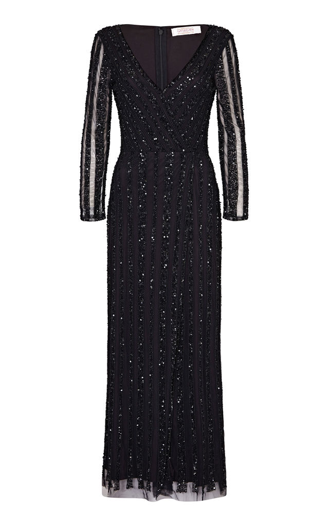 Rosie Maxi Dress in Black by Gatsbylady London