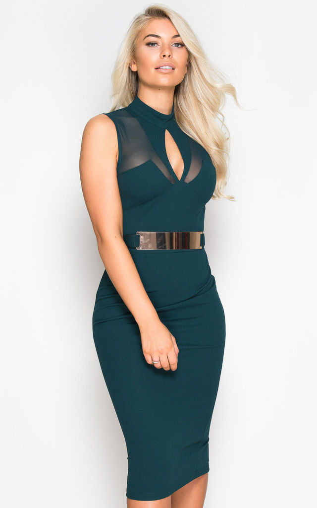fa5db3517 Brooke High Neck Mesh Panel Midi Dress Emerald Green By Girl In Mind