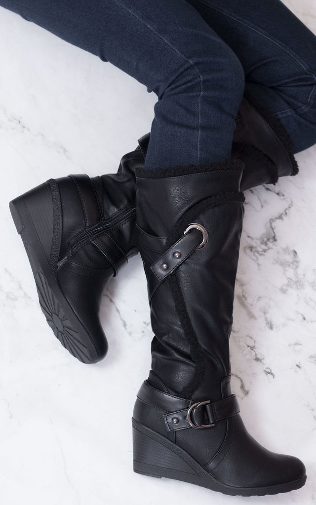 YAAAS Biker Wedge Heel Knee High Tall Boots - Black Leather Style by SpyLoveBuy
