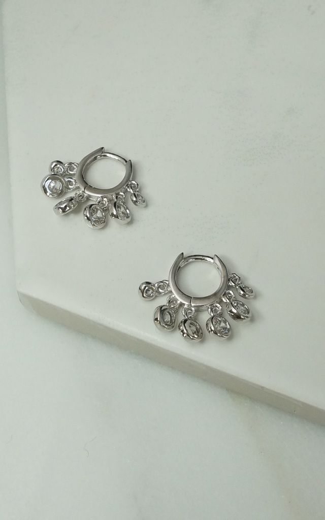 Cubic zirconia scatter dangle huggie hoops by EPITOME JEWELLERY