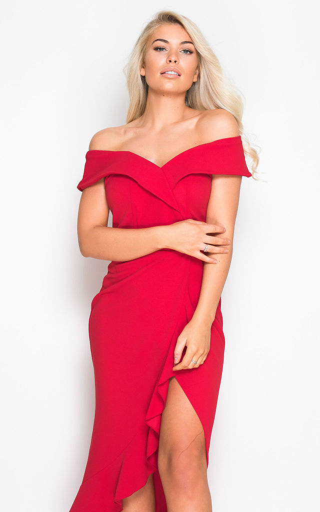 a30d09c9403f Maya Off Shoulder Frill Dress Red by Girl In Mind