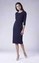 Navy Blue Pencil Dress With Long Sleeves Round Neck by Bergamo