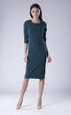 Green Pencil Dress With Long Sleeves Round Neck by Bergamo