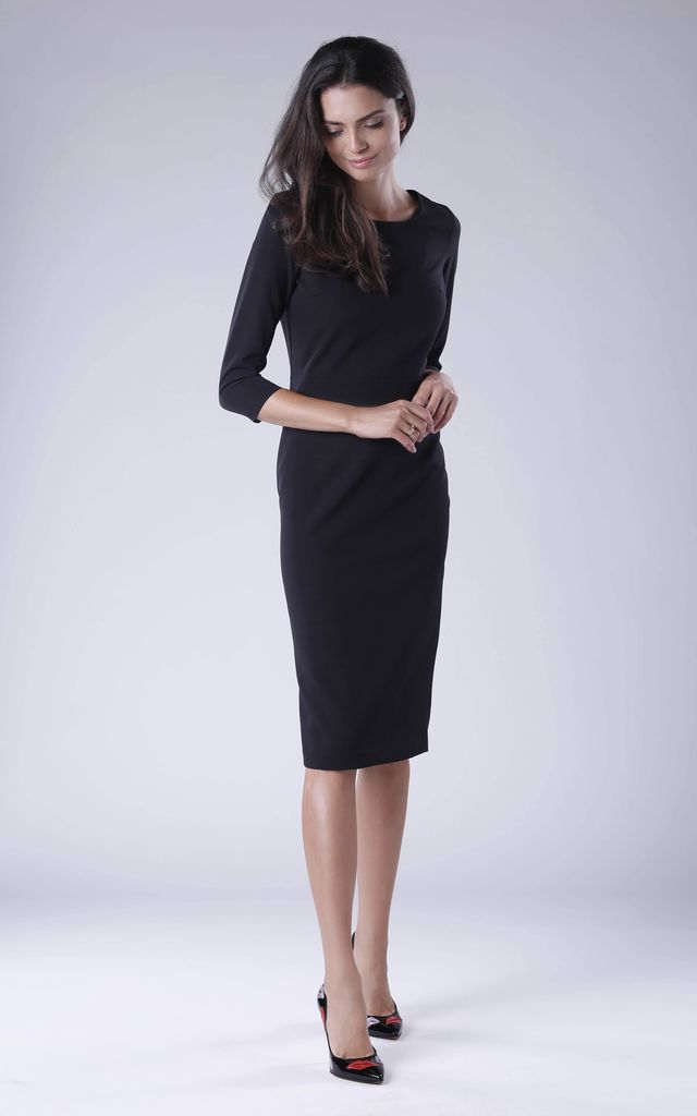 Black Pencil Dress With Long Sleeves Round Neck by Bergamo