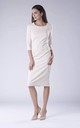 Beige Pencil Dress With Long Sleeves Round Neck by Bergamo