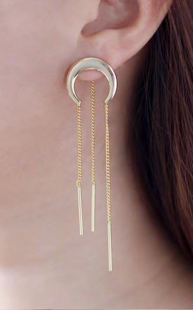 Lunette Gold Chain Crescent Earrings by Apache Rose London Product photo