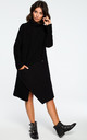 Black Oversized High Neck Asymmetric Dress by MOE