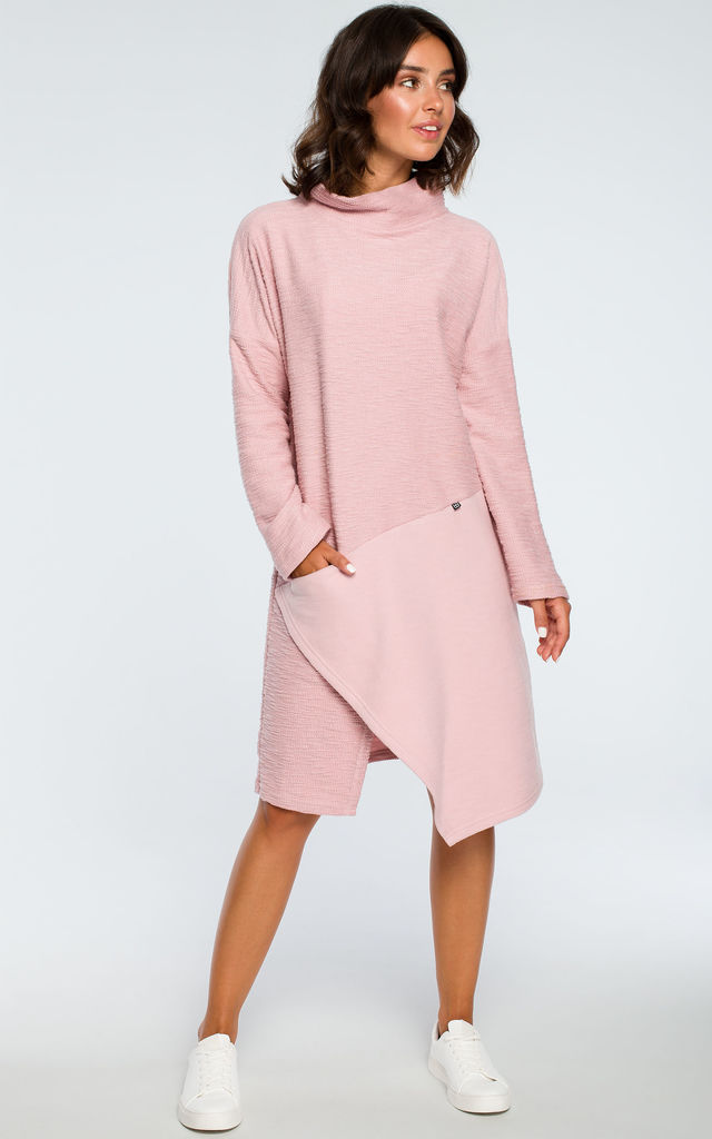 Powder Oversized High Neck Asymmetric Dress by MOE