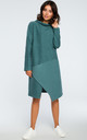 Sea Green Oversized High Neck Asymmetric Dress by MOE