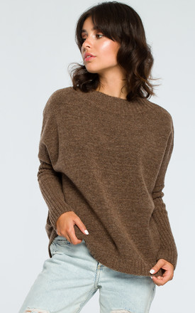 Brown Ribbed Trim Long Sleeve Jumper by MOE