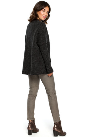 Charcoal Ribbed Trim Long Sleeve Jumper by MOE