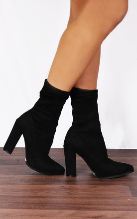 Black Pull On Stretch Sock Pull On Ankle High Heels Boots by Shoe Closet Product photo